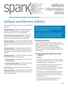 A .pdf file overviewing memory challenges that can be faced by people living with epilepsy.